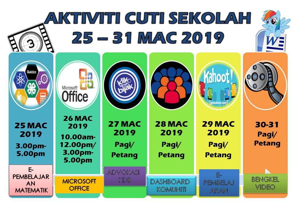 Aktiviti Cuti Sekolah Mac 2019